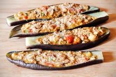 Stuffed eggplant raw Stock Images