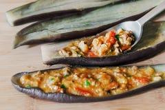 Stuffed eggplant raw Royalty Free Stock Photos