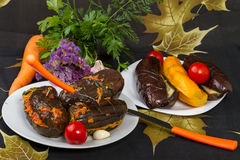 Stuffed eggplant and vegetables Stock Images