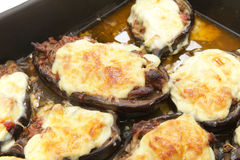 Stuffed eggplants cooked in the oven tray Royalty Free Stock Images