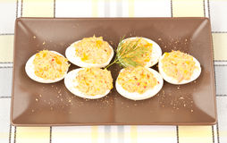 Stuffed Eggs. With mayonnaise, yolk and tuna. In a horizontal brown plate. On a tablecloth stock photo