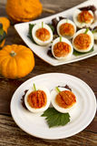 Stuffed eggs. Decorated as a pumpkin, perfect for Halloween party Royalty Free Stock Photography