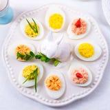Stuffed eggs. A fresh and tasty stuffed eggs royalty free stock photos