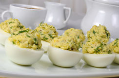 Stuffed eggs with herbs Royalty Free Stock Photo