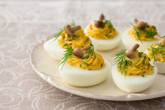 Stuffed eggs with mushrooms, green onions, dill and mayonnaise Royalty Free Stock Photo
