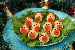 Free Stuffed Eggs `Pigs` For 2019 Stock Images - 132537524