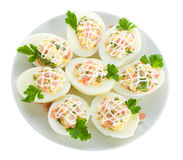 Stuffed eggs with red fish Royalty Free Stock Photo