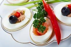 Stuffed eggs with salmon Royalty Free Stock Photos