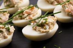 Stuffed eggs with salmon Stock Photos
