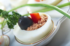 Stuffed eggs with salmon Stock Photography