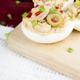 Stuffed eggs with tuna, olives and paprica Stock Images