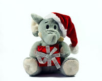 elephant toy wearing Santa hat Stock Photography