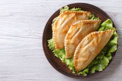 Stuffed empanadas on a plate. horizontal view from above Royalty Free Stock Image