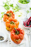 Stuffed рeppers. Stuffed peppers on a white table Royalty Free Stock Photo