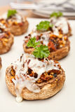 Stuffed Field Mushrooms Royalty Free Stock Photos
