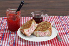 Stuffed french toast with strawberry jam and cream cheese. Royalty Free Stock Photo
