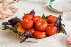 Stuffed fresh-salted tomatoes. stock image