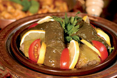 Stuffed grape leaves and cabbage rolls Royalty Free Stock Photography