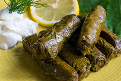 Stuffed grape leaves. Delicious stuffed grape leaves the traditional dolma of the mediterranean cuisine on yellow plate with leaves, lemon slice, dill and stock photo
