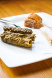 Stuffed Grape Leaves (Dolma), homemade baklava and some sweets Royalty Free Stock Image