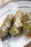 Stuffed Grape Leaves. With hummos and beans salad Stock Photo