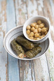 Stuffed Grape Leaves. With hummos and beans salad Stock Photos