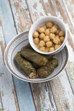 Stuffed Grape Leaves. With hummos and beans salad Royalty Free Stock Photography