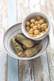 Stuffed Grape Leaves. With hummos and beans salad Royalty Free Stock Photo