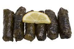 Stuffed grape leaves with olive oil Stock Photos