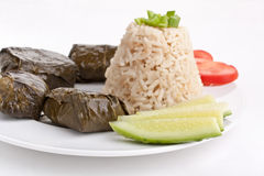 Stuffed grape leaves with rice Royalty Free Stock Photos