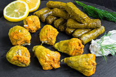 Stuffed grape leaves and squash blossoms Royalty Free Stock Image