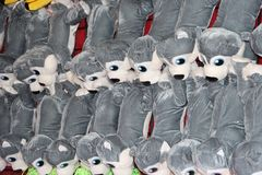 Stuffed Gray Animals as Prize at Carnival Royalty Free Stock Images