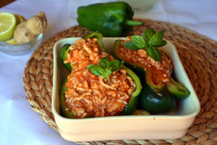 Stuffed green bell peppers with ground beef on a bowl. Healthy summer food. Stock Photography