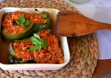 Stuffed green bell peppers with ground beef on a bowl. Healthy summer food. Stock Photo