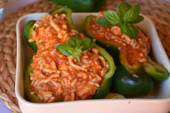 Stuffed green bell peppers with ground beef on a bowl. Healthy summer food. Green peppers stuffed with ground beef and rice. Summer gluten free food royalty free stock image