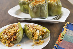Stuffed green bell peppers Stock Images