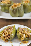 Stuffed green bell peppers Royalty Free Stock Images