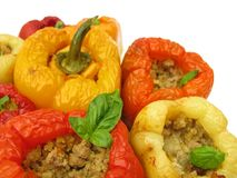 Stuffed Green Bell Peppers With Ground Meat Mince Stock Photography
