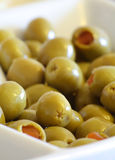 Stuffed Green Olives. Close up shallow depth of field shot of stuffed green olives Stock Images