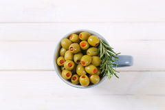 Stuffed green olives Royalty Free Stock Photos