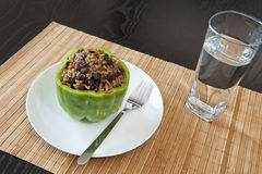 Stuffed Green Pepper with Water Stock Image