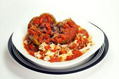 Stuffed Green Peppers With Noodles and Spaghetti Sauce Stock Photography
