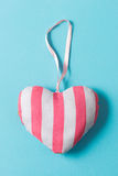 Stuffed Heart-Shaped Ornament with Pink and White Stripe Design Royalty Free Stock Photography