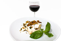 Stuffed Herbed Chicken With Cheese. Food & Drinks - French Cuisine - Stuffed Herbed Chicken With Boursin Cheese Royalty Free Stock Photo
