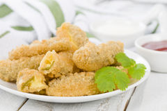 Stuffed Jalapenos. Green chilies filled with cheese, breaded and deep fried Royalty Free Stock Image