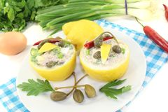 Stuffed Lemons with tuna cream, capers and eggs Royalty Free Stock Photography