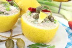 Stuffed Lemons with tuna cream and capers Royalty Free Stock Photos