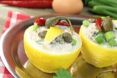 Stuffed Lemons with tuna cream Royalty Free Stock Images
