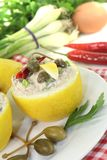 Stuffed Lemons with tuna cream and eggs Royalty Free Stock Images