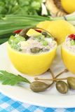 Stuffed Lemons with tuna cream Stock Image